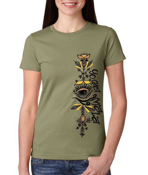 Yoga Mala Olive T-Shirt, Women's