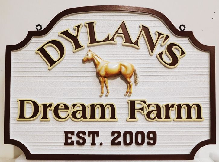 "O24204 - carved and Sandblasted Wood Grain Sign entrance sign for ""Dylan's Dream Farm"", 3-D Bas-Relief Artist-Painted"