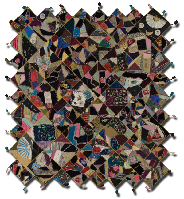 Crazy quilt, made by C. V. Allen, made in New York, United States, circa 1883, 59 x 65 in, IQSCM 2007.041.0012