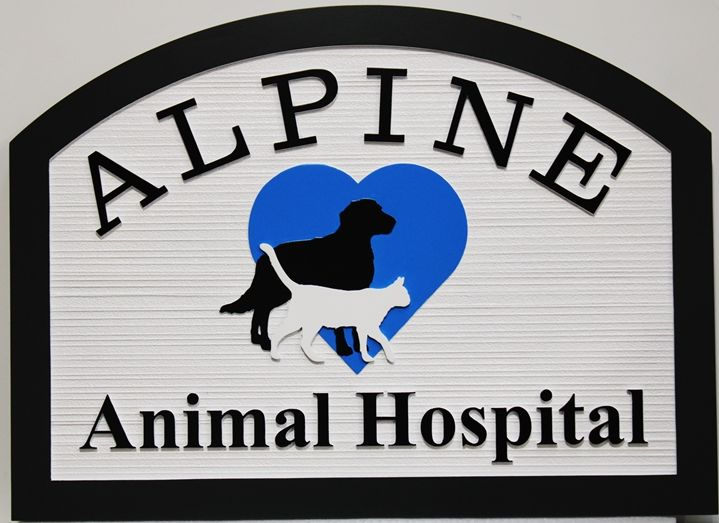 BB11780 - Carved and Sandblasted Wood Grain Alpine Animal Hospital Entrance Sign, with Dog, Cat and Heart as Artwork