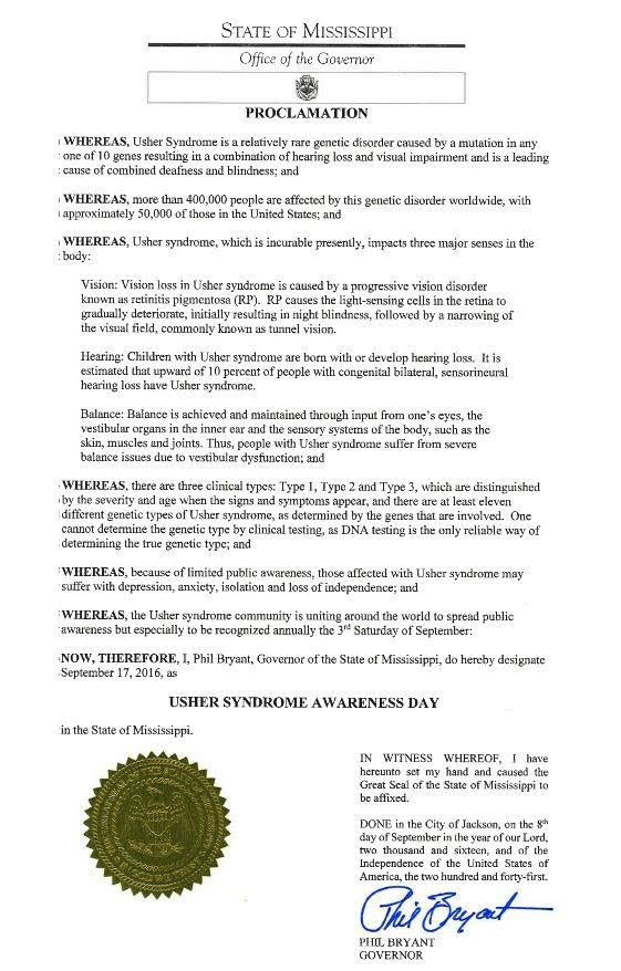 State of Mississippi Proclamation, USH Awareness Day
