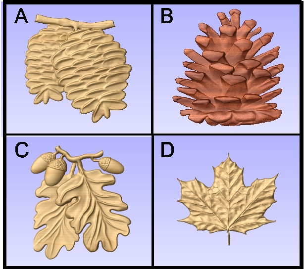 GA16735 - 3-D Carvings of Wood or HDU Pinecones, Acorns, Mapleleaf
