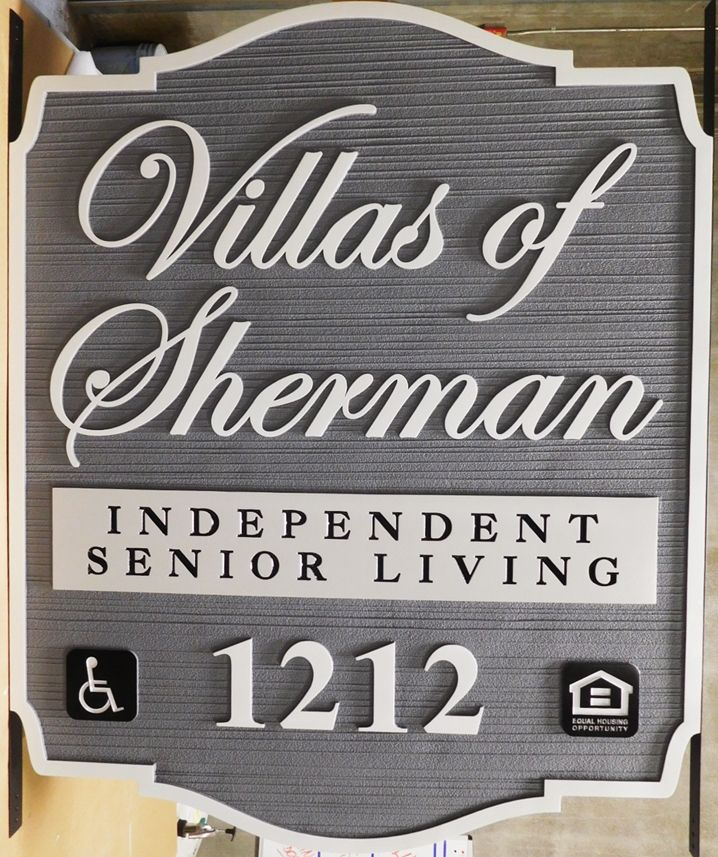 K20234 - Carved  and Sandblasted Wood Grain Entrance and Address Sign for the Villas of Sherman Independent Senior Living Community