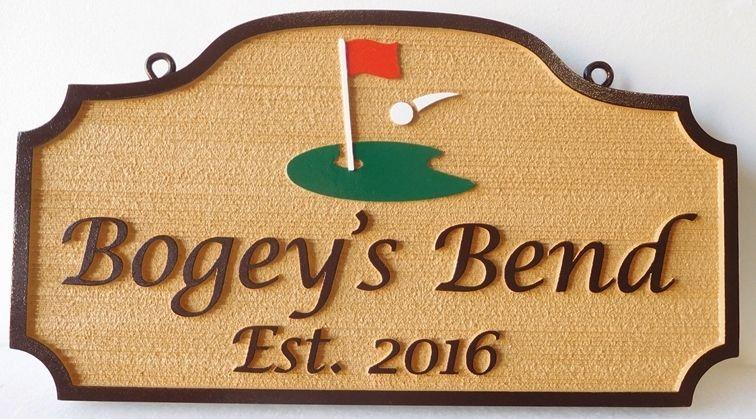 "I18655 Ccarved  High-Density-Urethane  Residence Name Sign, ""Bogey's Bend"", with Golf Green as Artwork."