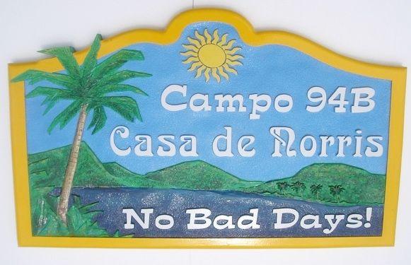 "L21118 - Beach Campsite Sign ""Casa de Norris"""