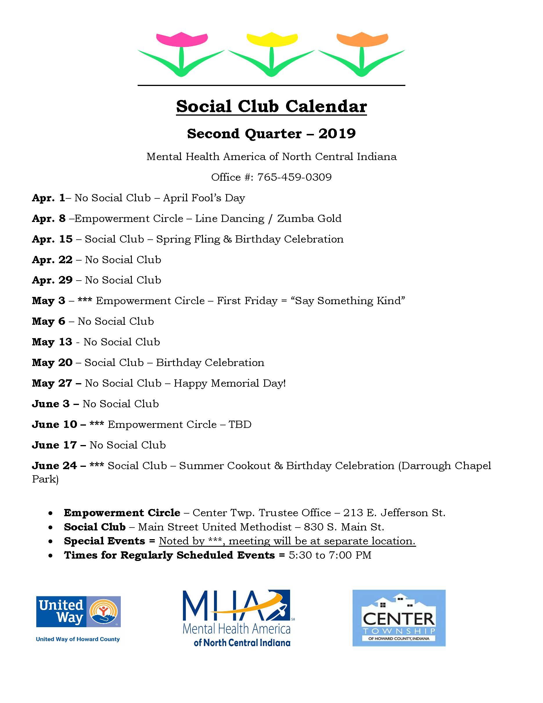 Social Club / Empowerment Circle - 2nd Qtr Calendar 2019