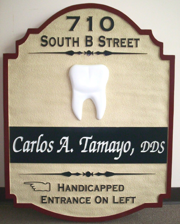 M2420 - Dentist Sign with  Carved Molar  (Gallery 11A)