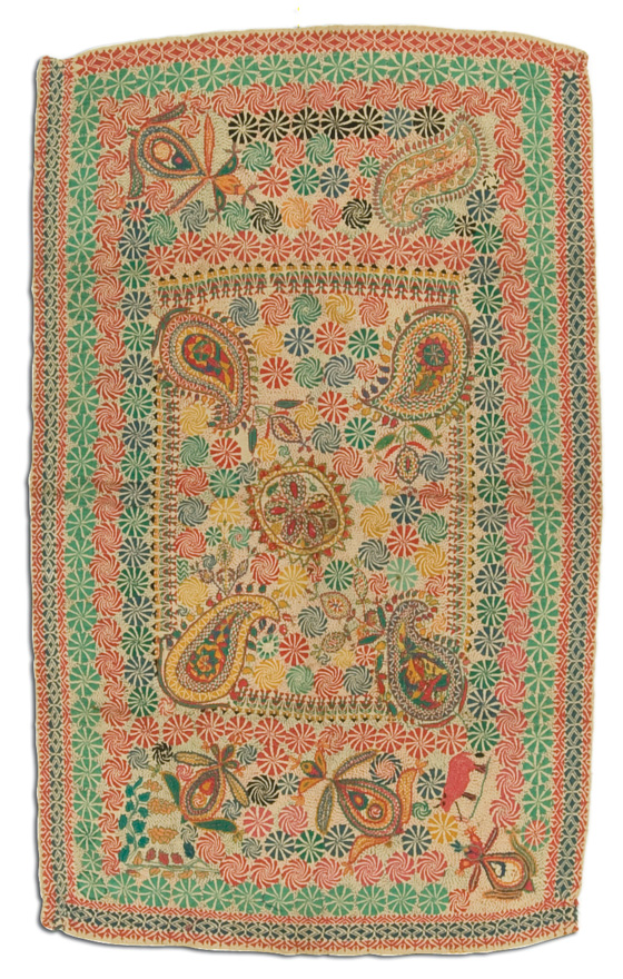 Kantha, probably made in Jessore, Bangladesh, circa 1950-2000, 47 x 27.5 in, IQSCM 2009.020.0002