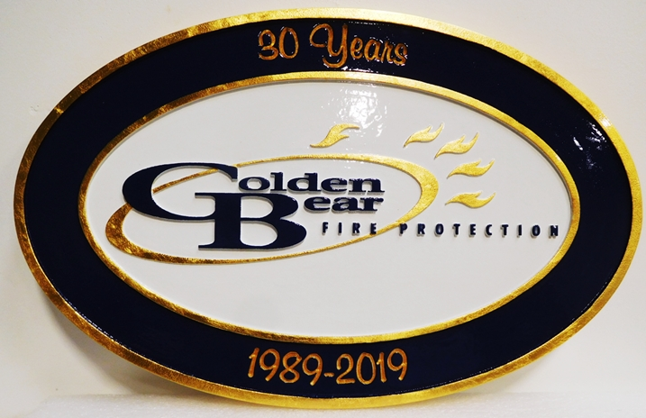 QP-3152 - Carved Plaque of the Logo of the Golden Bear Fire Protection Company, 2.5-D Gold Leaf Gilded