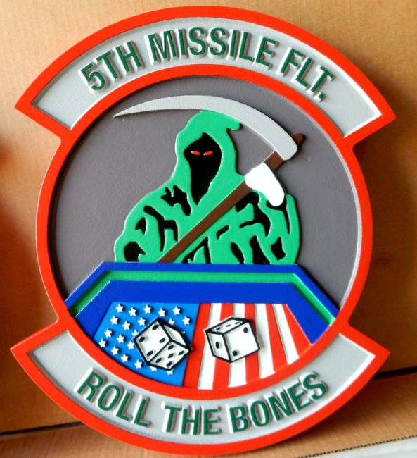 """V31625 - Carved HDU or Wood Wall Plaque of the Crest for the 5th Missile Flight, """"Roll the Bones"""",  US Air Force"""