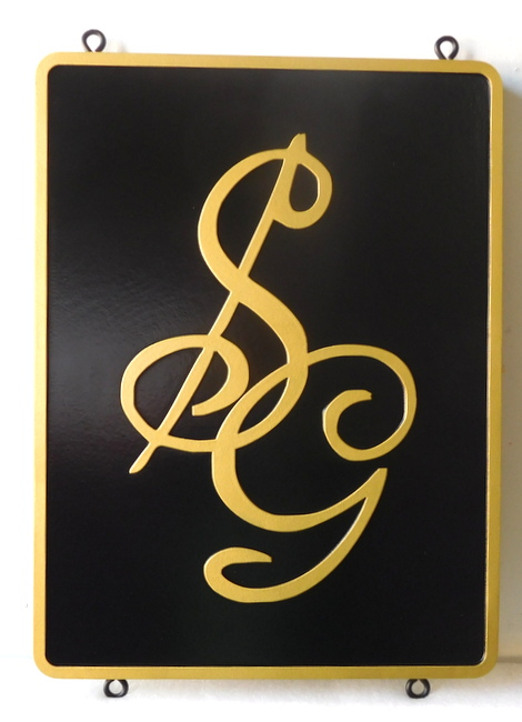 "I18122 - Carved HDU Residence Entrance Sign, with Initials ""SG"""