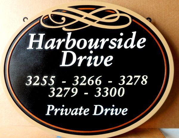H17108- Carved HDU Harbourside Private Road Sign