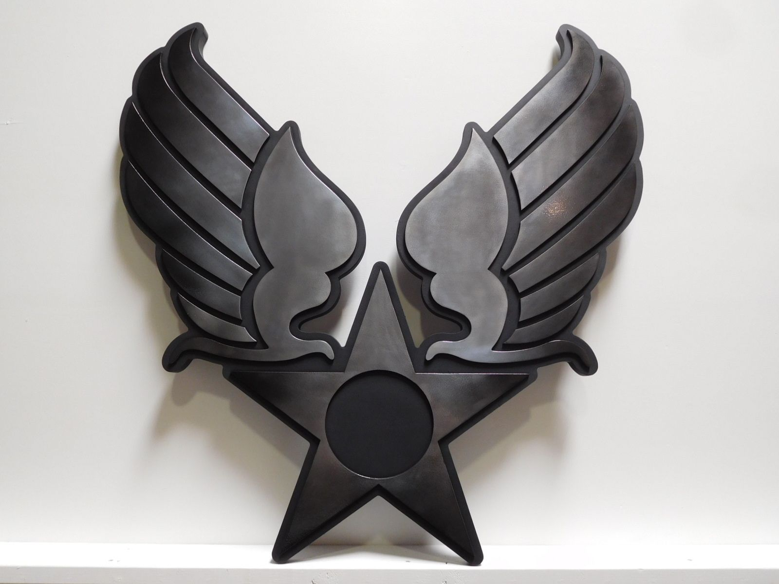 MP-2410- Carved Plaque of an Insignia / Crest for a US Army Unit , 2.5D Painted in Black and Metallic Silver