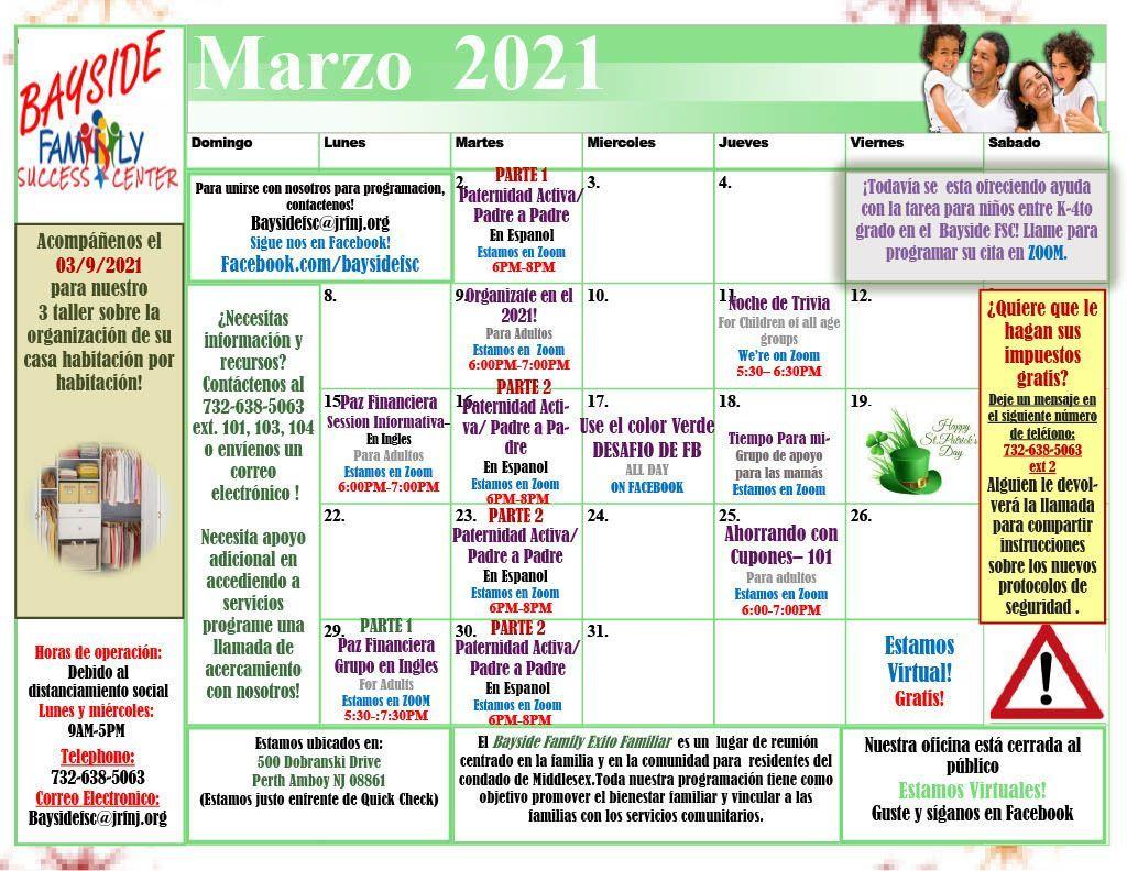 March 2021 Calendar Español (Calendario de Marzo)