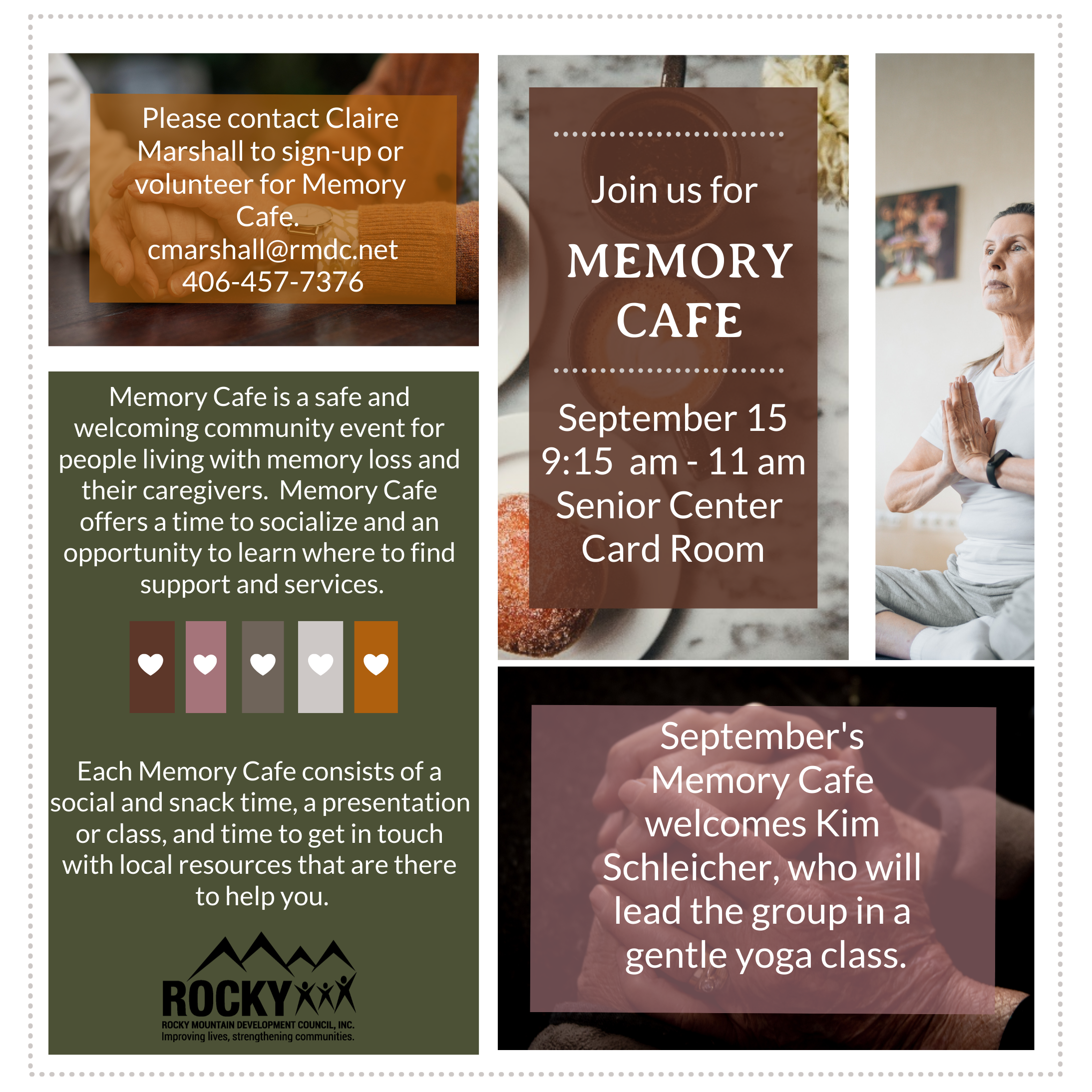 Memory Cafe is a safe and welcoming community event for people living with memory loss and their caregivers.