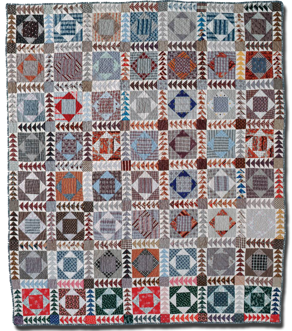 Square in a Square, Maker unknown, Made in United States, Circa 1860-1910, 80.5 x 68 in, IQSC 1997.007.0051