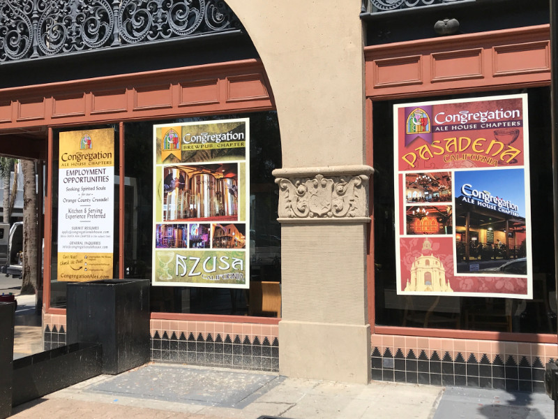 Coming soon window banners for restaurants in Orange County CA