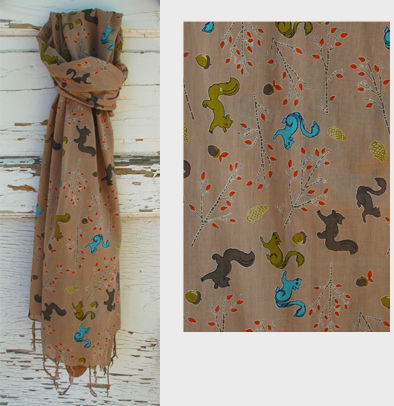 Squirrel Cotton Scarf with Fringe - Tan