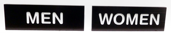 GA16616 - Engraved  High-Density-Urethane (HDU)  Men and Women Restroom Signs