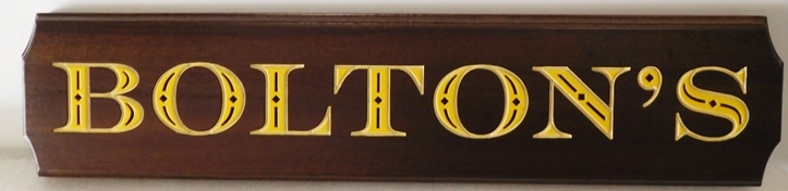 """I18954 - Carved and Sandblasted Wood Property Name Sign, The  """"Bolton's"""""""