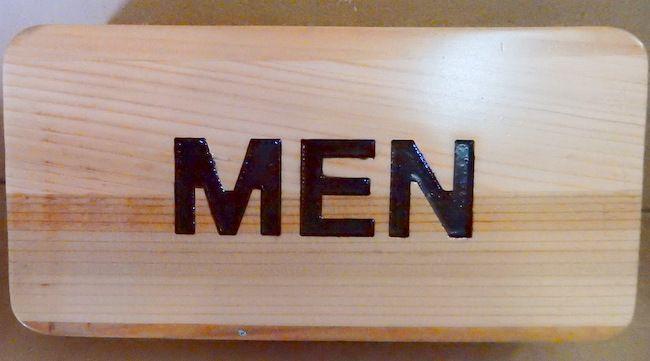 """KA20627 - Carved Cedar Wood Sign """"Men"""" for Men's Room"""