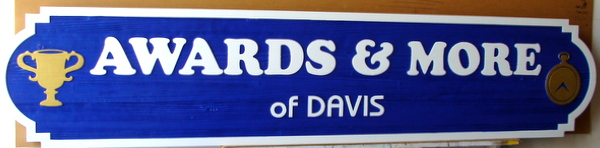 """SA28795 - Carved Wood-Grain HDU  Plaque for """"Awards and More of Davis"""" with Carved Trophy as Artwork"""