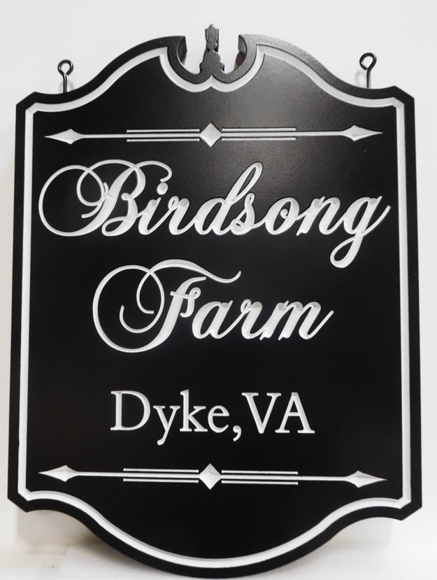 "Q24042 - Formal Ornate Engraved Sign for ""Birdsong  Farm"""