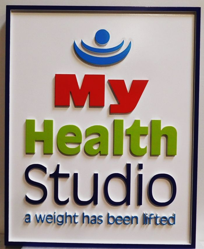"SA28322 - Carved HDU Sign  for the ""My Health Studio"" Business, 2.5-D"