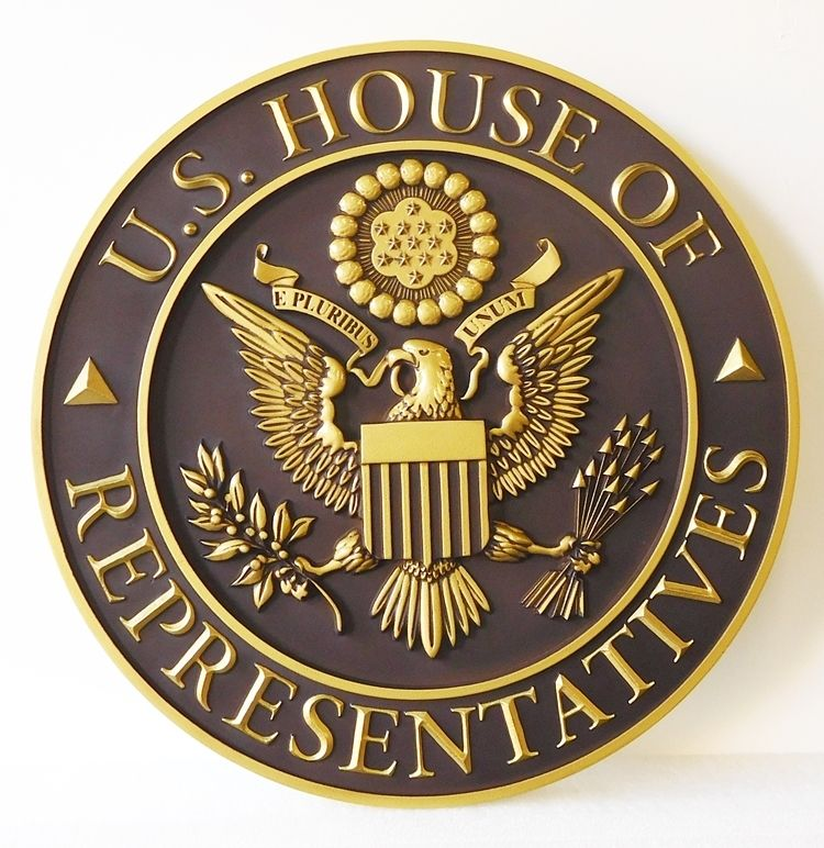 AP-2050 -  Carved Plaque of the Seal of the US House of Representatives, Brass Plated