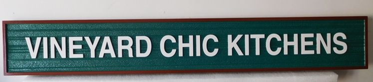 "R27091 - Carved HDU Sign for  ""Vineyard Chic Kitchens""   with  a 2.5-D Raised Text and  Border"
