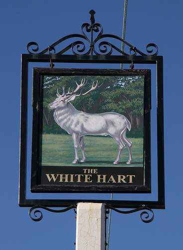 "RB27675 - Carved Wooden ""White Hart"" (Deer ) English Pub Sign with Iron Frame"