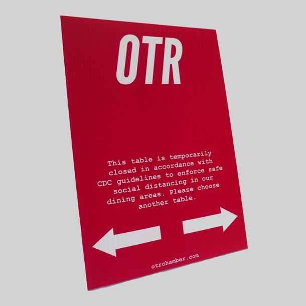 "OTR ""Closed Table"" Table Top Sign"