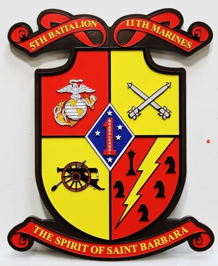 431428 - Carved  2.5-D HDU   Plaque for the 5th Battalion, 11th Marines