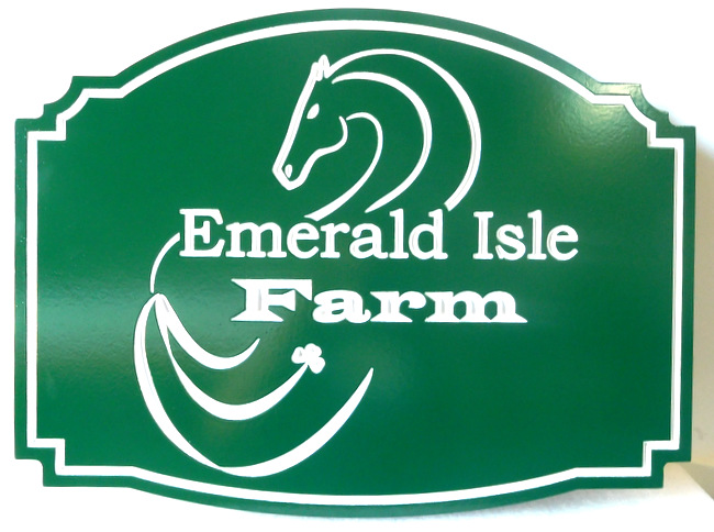 "P25127 - Carved HDU (Irish) ""Emerald Isle"" Farm Sign with Stylized Horsehead and Clover"