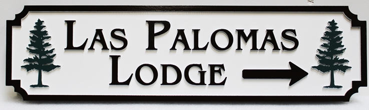 """T29428 - Carved """"Las Palomas Lodge"""" Directional Sign"""