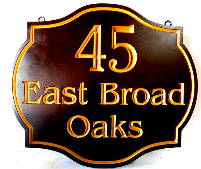 I18138 - Elegant Engraved Residence Address Sign, with 24K Gold-leaf Gilding
