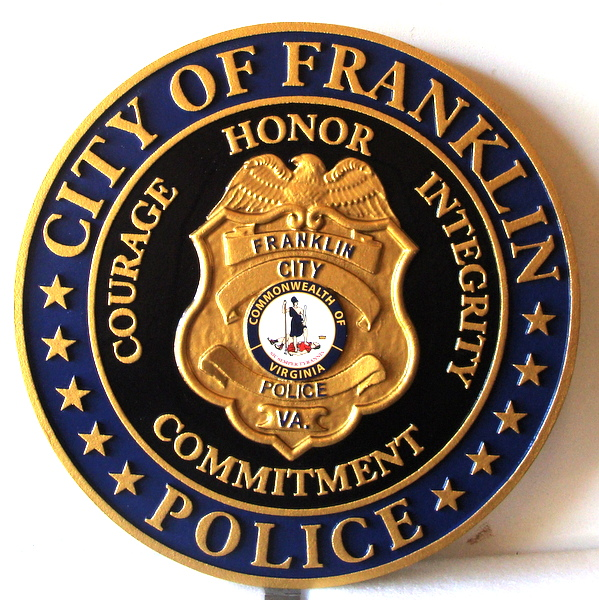PP-1530 - Carved Wall Plaque of the Police  Badge of  the City of Franklin, Virginia, Artist Painted