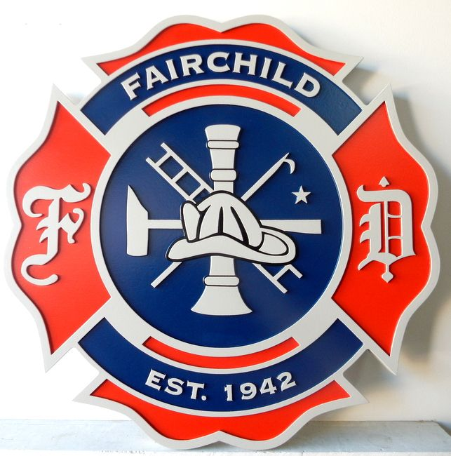 X33858 - Carved Wood Plaque for the Badge or Patch of the Fire Department of the Village of Fairchild, Wisconsin
