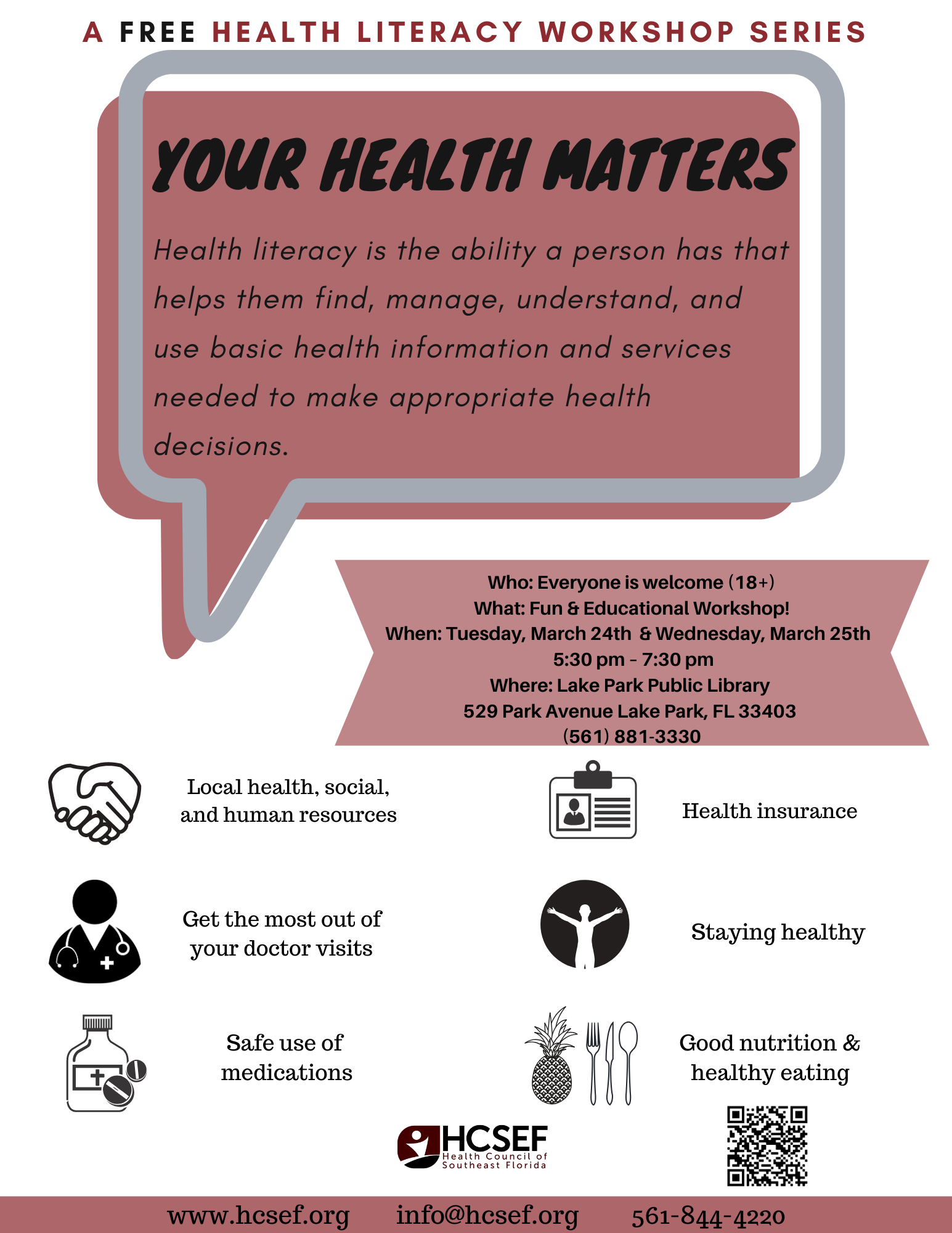 Your Health Matters- Health Literacy Workshop