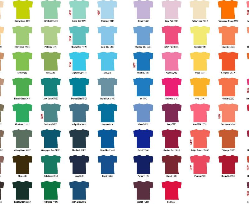 Gildan Color Chart