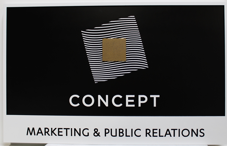 S28111 - Carved HDU Sign for CONCEPT , a Marketing and Public Relations Company, 2.5-D Multi-level and Raised Relief, with Logo as Artwork