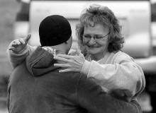 Deb hugging her son for the first time in 17 years