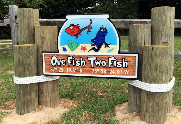 "L21396 - Carved and Sandblasted Property Name Sign ""One Fish, Two Fish"", Mounted Between Two Posts"