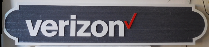 S28053- Large Carved and Sandblasted Wood Grain HDU Commercial Sign made for a   Verizon Store, 2.5-D Artist-Painted