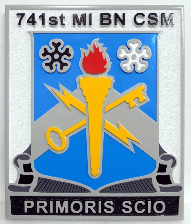 MP-2081 - Carved Plaque of the Insignia  of a US Army 741st Military Intelligence Battalion, Artist Painted