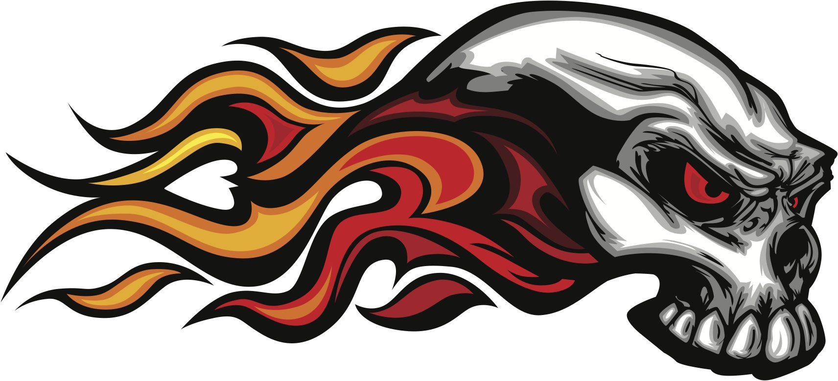 Skull with flames 2 car decal
