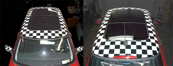 MINI Cooper with Checkerboard Roof Graphic