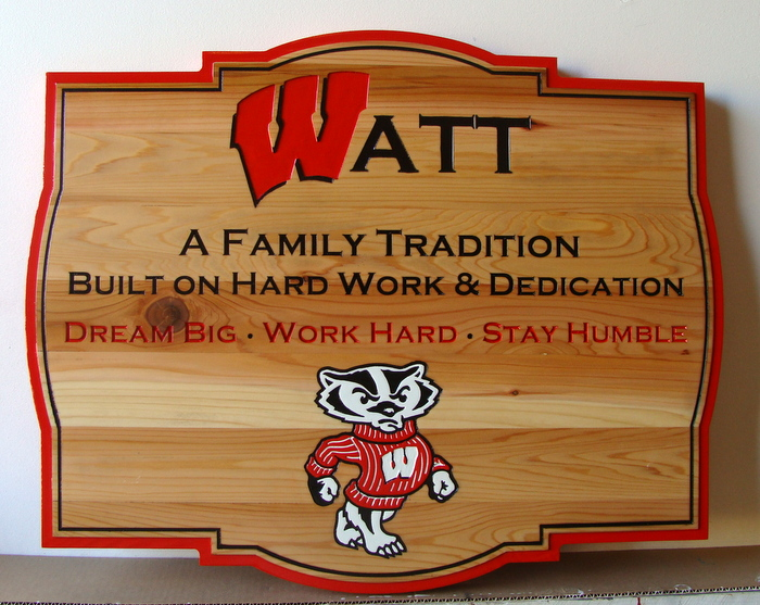 O24330 - Cedar Wood Watt Family Plaque