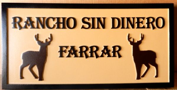 """024562 – Carved  HDU Sign for """"Rancho Sin Dinero"""" , with Two Deer"""