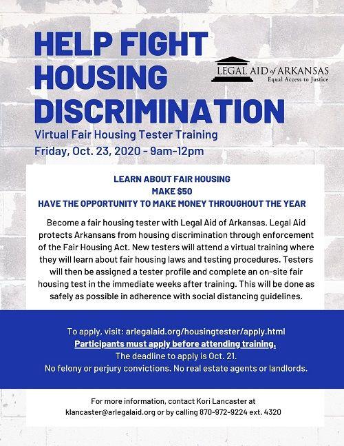 Little Rock Virtual Fair Housing Tester Training